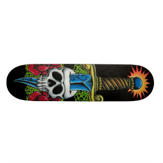 Dagger, Skull, and Roses Skateboard