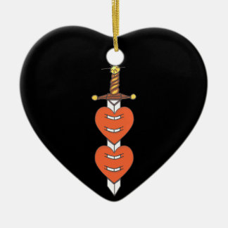 Dagger Through Hearts Ceramic Ornament