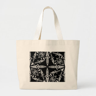 Daggers and eyes tattoo graphic pattern large tote bag