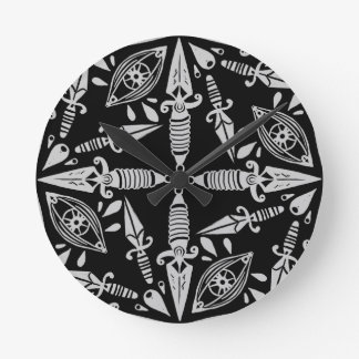 Daggers and eyes tattoo graphic pattern round clock