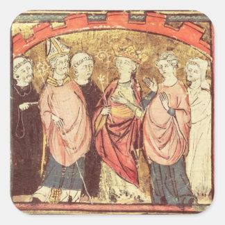 Dagobert I , King of Franks receiving the Kingdom Square Sticker