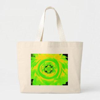 Dahlia Abstract, Green, Yellow Jumbo Tote Bag