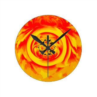 Dahlia Abstract, Yellow, Orange, Red Clocks