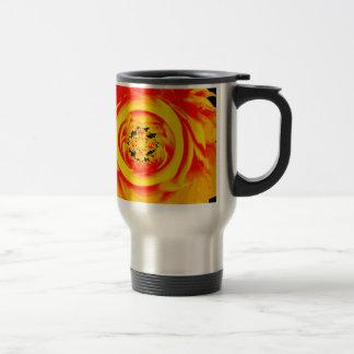 Dahlia Abstract, Yellow, Orange, Red Travel Mug