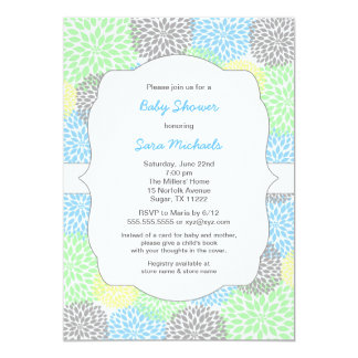 Dahlia blooms neutral baby shower blue mint gray card