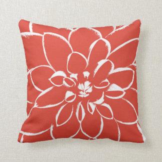 Dahlia Fiesta | Red Flower Throw Pillow