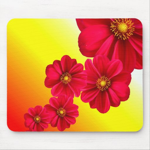 Dahlia Flower Collage Mouse Pad