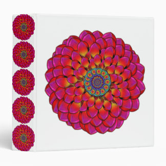 Dahlia Flower Endless Eye Abstract 3 Ring Binder