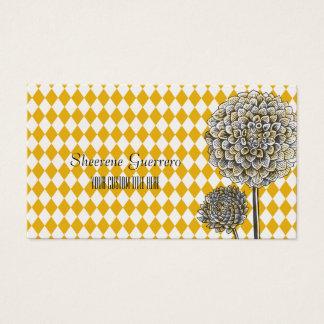 Dahlia Flower Harlequin Mustard Pattern Business Card