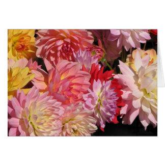 Dahlia Flowers Birthday Card