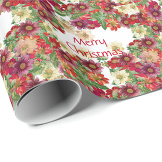 Dahlia Flowers Floral Christmas Wrapping Paper
