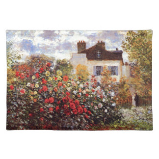 Dahlia Garden in Argenteuil Claude Monet Fine Art Placemat