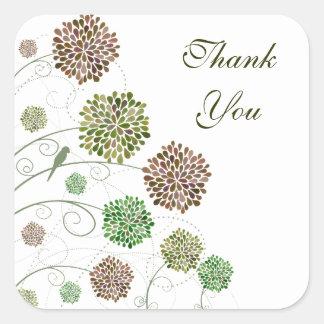 Dahlia Garden Wedding Thank You Square Sticker