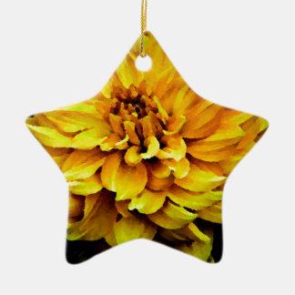 Dahlia - Honeymoon  Yellow Ceramic Star Ornament
