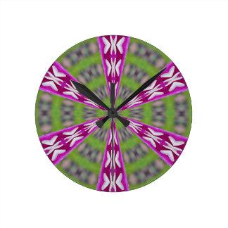Dahlia Kaliediscope Round Clock