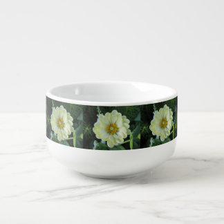 Dahlia Light Yellow Flower Soup Bowl With Handle