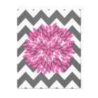 Dahlia on Chevrons in Pink and Grey Canvas