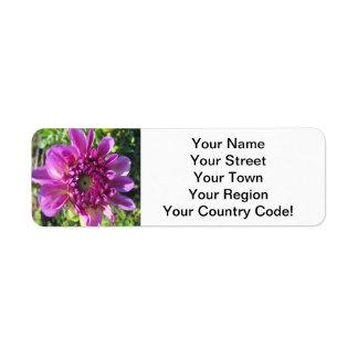 Dahlia Purple Flower Garden Plant Return Address Label