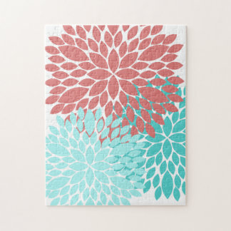 Dahlia Puzzle Teal and Coral Cute Kids Gift Flower
