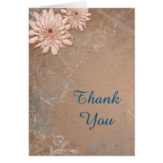 Dahlia Swirl Border Tan and Blue Thank You Card