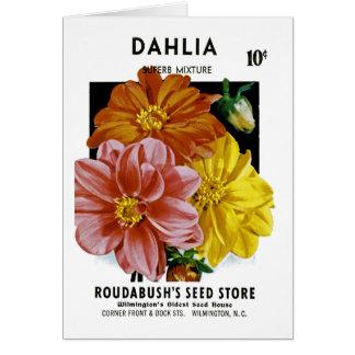 Dahlia Vintage Seed Packet Card