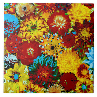 Dahlias Abstract Fine Flower Floral Picture Tile