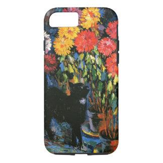 Dahlias and Black Cat, fine art painting iPhone 7 Case