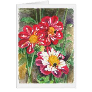 Dahlias and Bumble Bees Card