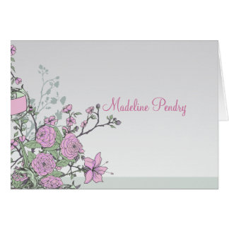 Dahlias and Lilies Personalized Folded Card