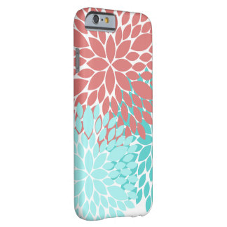 Dahlias Flower Pattern Phone Case Coral Teal Girly