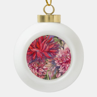 dahlias flowers ceramic ball christmas ornament