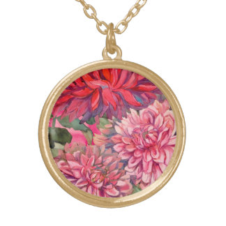 dahlias flowers gold plated necklace