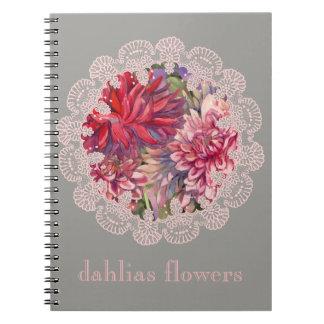 dahlias flowers notebook