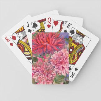dahlias flowers playing cards