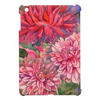 dahlias flowers watercolor iPad mini cover