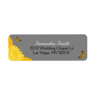 Dahlias jaunes et papillons épousant des étiquette d'adresse retour