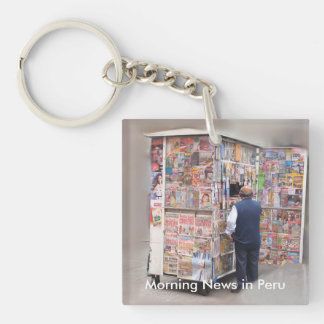 Daily News in Peru - Customizable Text Single-Sided Square Acrylic Keychain