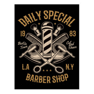 Daily Special Barber Shop Cut And Shave Postcard