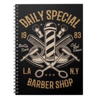 Daily Special Barber Shop Cut And Shave Spiral Notebook