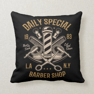 Daily Special Barber Shop Cut And Shave Throw Pillow