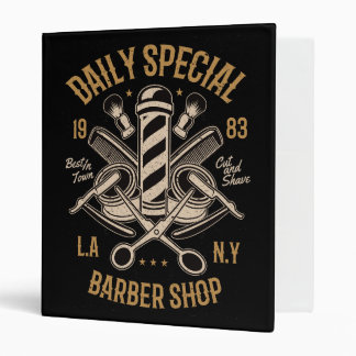 Daily Special Barber Shop LA NY Cut and Shave 3 Ring Binder