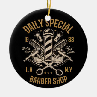 Daily Special Barber Shop LA NY Cut and Shave Ceramic Ornament
