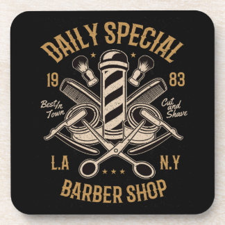 Daily Special Barber Shop LA NY Cut and Shave Coaster