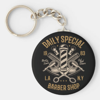 Daily Special Barber Shop LA NY Cut and Shave Keychain