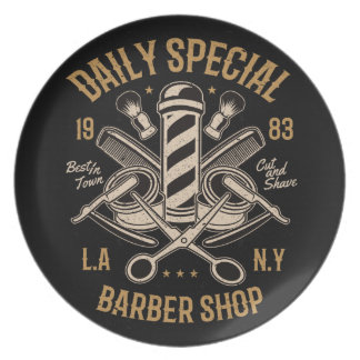 Daily Special Barber Shop LA NY Cut and Shave Plate