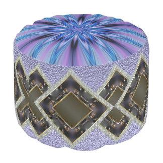 Daimonds Pattern Sturdy Spun Polyester Round Pouf