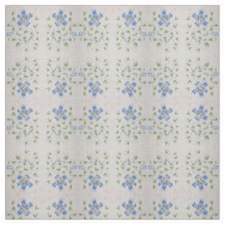 Dainty blue flowers painted in Chinese watercolor Fabric