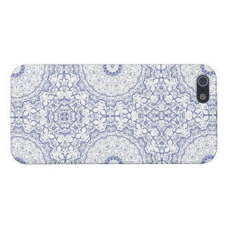 Dainty Blue Ornate Pattern Case For iPhone 5