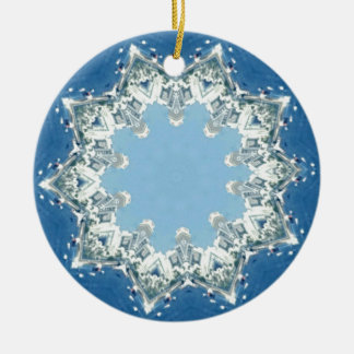 dainty Circular Shades Of Blue Round Ceramic Ornament