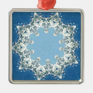 dainty Circular Shades Of Blue Silver-Colored Square Ornament
